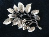 Vintage Exquisite Brooch - 1960's Copper Tone Cherries and Leaves Pin signed 'Exquisite' (SOLD)